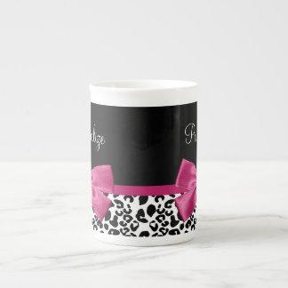Estampado leopardo rosado oscuro vivaz de la cinta taza de porcelana