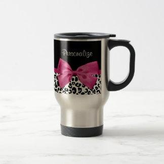 Estampado leopardo rosado oscuro vivaz de la cinta taza de viaje de acero inoxidable