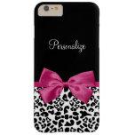 Estampado leopardo rosado oscuro vivaz de la moda funda de iPhone 6 plus barely there