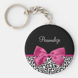 Estampado leopardo rosado oscuro vivaz de la moda llaveros