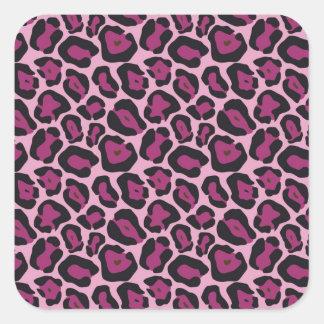 Estampado leopardo rosado pegatina cuadrada