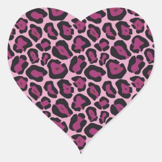 Estampado leopardo rosado pegatina en forma de corazón