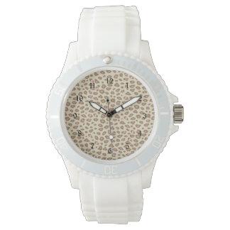 Estampado leopardo rosado poner crema relojes de pulsera