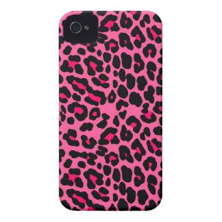 Estampado leopardo rosado punky Case-Mate iPhone 4 protectores
