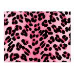 Estampado leopardo rosado retro postal