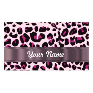 Estampado leopardo rosado tarjetas de visita