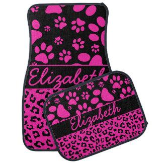 Estampado leopardo rosado y negro y patas alfombrilla de auto
