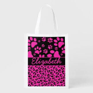 Estampado leopardo rosado y negro y patas bolsa de la compra
