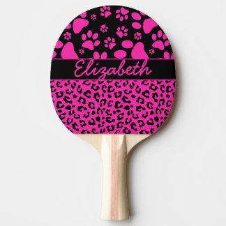 Estampado leopardo rosado y negro y patas pala de tenis de mesa