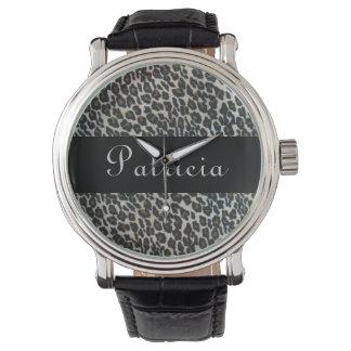 Estampado leopardo salvaje personalizado relojes de pulsera
