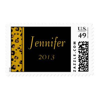 Estampado leopardo su del nombre franqueo de sello postal