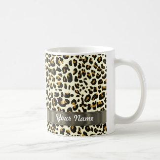 estampado leopardo taza básica blanca