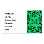Estampado leopardo verde con el monograma de encar tarjeta de visita