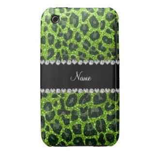 Estampado leopardo verde de neón conocido de encar Case-Mate iPhone 3 protector