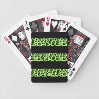 Estampado leopardo verde rayado baraja de cartas bicycle
