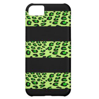 Estampado leopardo verde rayado funda para iPhone 5C