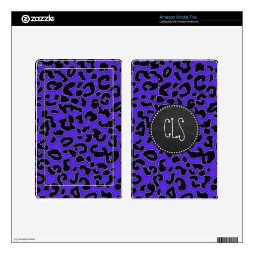 Estampado leopardo violeta azul; Mirada de la piza Skin Para Kindle Fire