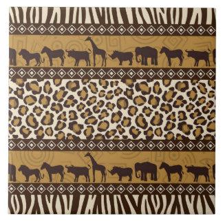 Estampado leopardo y animales africanos azulejo cuadrado grande