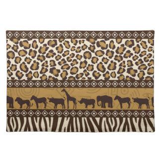 Estampado leopardo y animales africanos manteles individuales