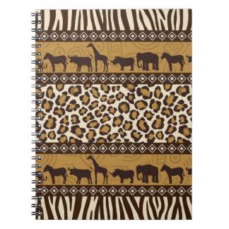 Estampado leopardo y animales africanos spiral notebooks