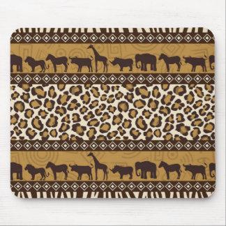 Estampado leopardo y animales africanos tapete de ratones