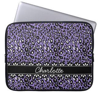Estampado leopardo y cordón púrpuras de moda funda ordendadores