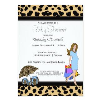 """Estampado leopardo y mamá azul de las compras invitación 5"""" x 7"""""""