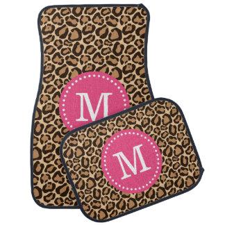 Estampado leopardo y monograma de encargo rosado alfombrilla de auto
