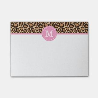 Estampado leopardo y monograma de encargo rosado post-it notas