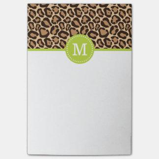 Estampado leopardo y monograma de encargo verde post-it nota