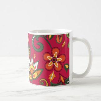 Estampados de flores decorativos taza