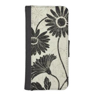 Estampados de flores en blanco y negro funda cartera para teléfono