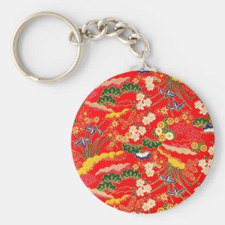 Estampados de flores japoneses coloridos lindos llavero redondo tipo pin