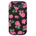 Estampados de flores: Rosas rosados en negro Samsung Galaxy S3 Cárcasa