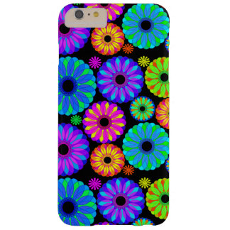 Estampados de plores retros coloridos en fondo funda de iPhone 6 plus barely there