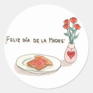 Estampillas del Día de la Madre Classic Round Sticker