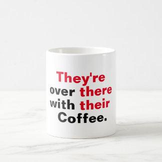 Están allí con su café taza de café
