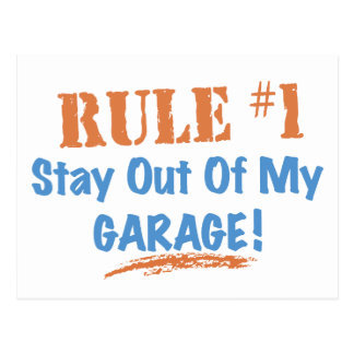 Estancia de la regla #1 fuera de mi garaje tarjetas postales