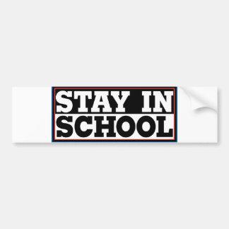 Estancia en escuela etiqueta de parachoque