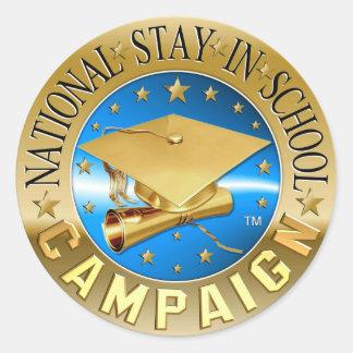 Estancia nacional en engranaje de la escuela pegatina redonda