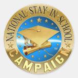 Estancia nacional en pegatina de la escuela