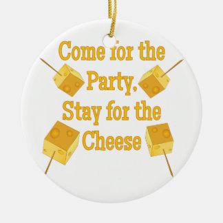 Estancia para el queso adorno navideño redondo de cerámica