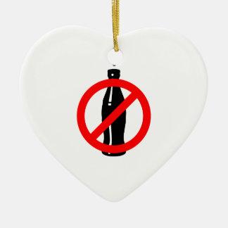 Estancia sana ninguna soda negra adorno navideño de cerámica en forma de corazón