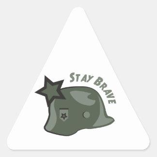 Estancia valiente pegatina triangular