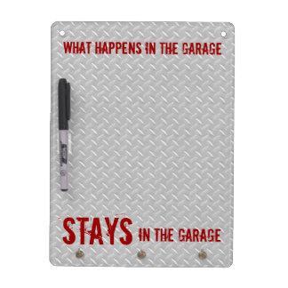 Estancias en el garaje tablero blanco