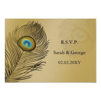 """estándar 3,5 x del pavo real del oro rsvp que se invitación 3.5"""" x 5"""""""