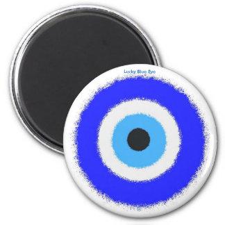 Estándar afortunado del ojo azul, imán redondo de