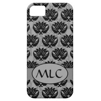 Estaño negro y monograma gris del damasco de iPhone 5 carcasa