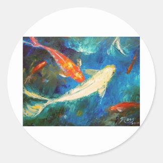Estanque de peces de Koi Pegatina Redonda