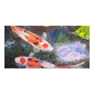 Estanque de peces de Koi Tarjetas Fotograficas Personalizadas
